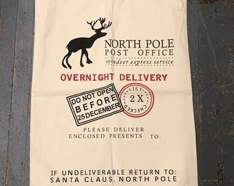 Personalized Santa Sack North Pole Christmas Present Delivery Bag