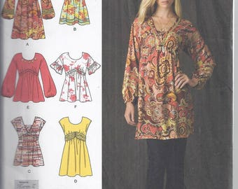 Simplicity Pattern 2690 from 2009  Misses Pullover Mini Dress or Tunic , Bust 30 1/2-36, UNCUT  Boho