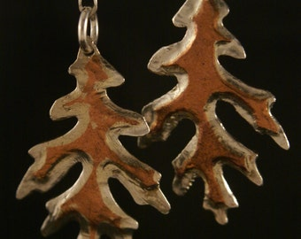 "sterling silver copper hand made 3"" long oak leaf earrings"
