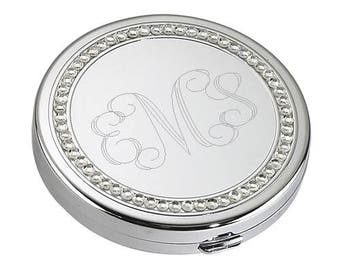 Round Silver Personalized Compact Mirror FC122