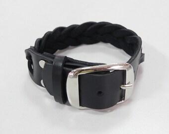 Braided Black Leather Cuff Leather Bracelet