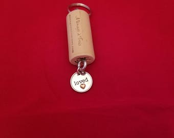 Wine Cork Keyring with Loved Charm