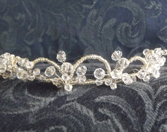 Handcrafted Crystal Tiara, available in gold or silver wire.