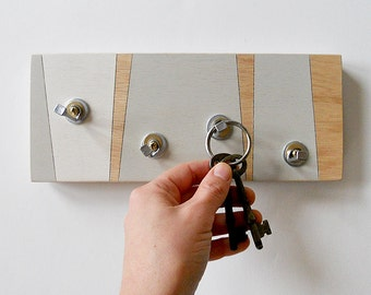 KEY HOOK GEOMETRIC: Modern Linear Design a Handmade Wooden Wall Mount Piece for Cottage or Home.
