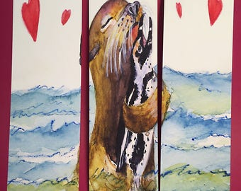 Seal and Penguin in Love Bookmarks, by Michelle Kogan, Valentines Day, Children's Art, Love, Watercolor, Books, Book Accessories, Animals