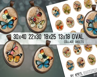 Butterflies  30x40 22x30 18x25 13x18  Oval Digital Collage Sheet Images for Glass and Resin Pendants Cameos Paper Craft