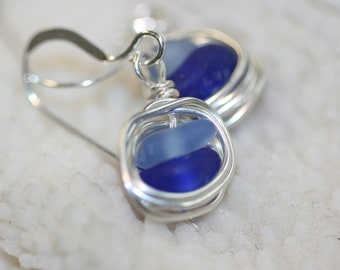 Cobalt and cornflower blue beach sea glass 925 sterling silver wire wrapped dangling earrings