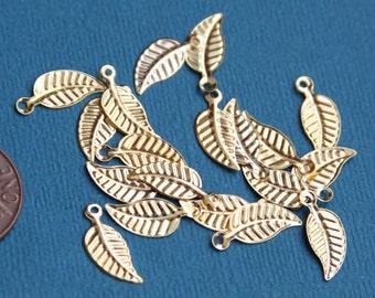 100 pcs of Gold plated leaf drop  14x6mm