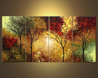 Landscape Blooming Trees Painting Original Abstract Modern Acrylic by Osnat - MADE-TO-ORDER