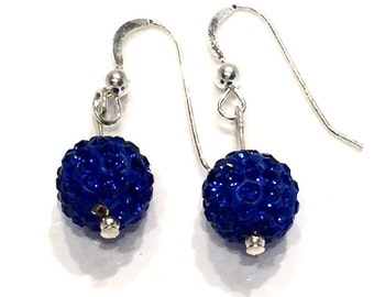 Royal blue Pave' crystal earrings, crystal ball earrings, blue crystal earrings, sterling silver crystal earrings, rhinestone crystal balls