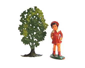 Vintage Lead Britain Girl with Tree Putz c1930