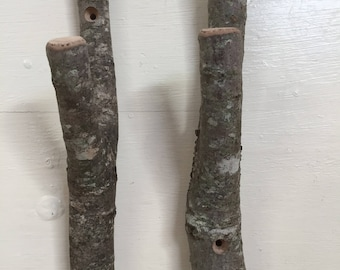 Large rustic twig hooks.  Bundle of 2.