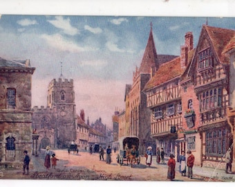vintage postcard - Stratford-On-Avon High Street,  Tuck's Oilette English Postcard  no. 7920