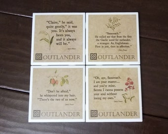 Outlander Quotes coasters -24 designs available to choose from to make a custom set of 4