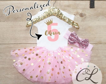 Personalized Age Birthday Tutu Outfit Set / Five T-Shirt 067