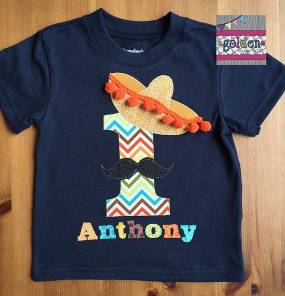 UNO Fiesta Sombrero and Mustache Birthday Tee with Age