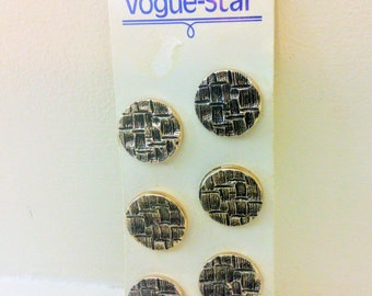 Vintage Vogue Star, Set Of Six, Gold Coloured, Metal Buttons, Sewing, Notions