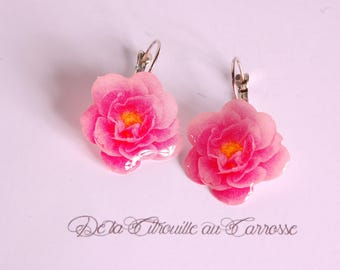 Hot pink rose earrings, hot pink flower earrings