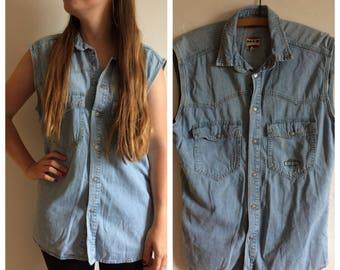Cute vintage retro 80s denim blouse/shirt