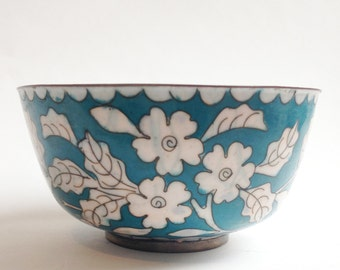 vintage cloisonne bowl turquoise and white flowers
