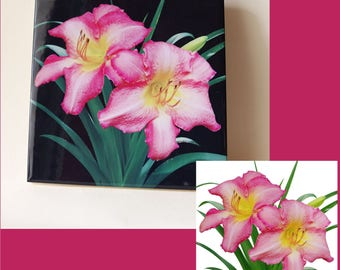 Daylily ceramic tile, floral trivet, Hemerocallis 'Chicago Candy Cane', flower, garden, Mother's day gift, pink. rose, kitchen