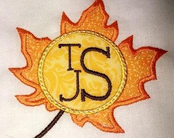 Fall Leaf Embroidery Applique