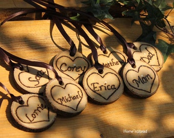 Rustic Wedding Tokens Mason Jar Decoration Custom Names / Dates / Mr. Mrs. Christmas Ornament Inside Hearts Table Centerpiece