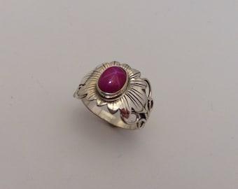sterling silver star ruby flower ring