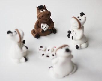Fondant Gambling Horses Cake Topper - Whimsical 3D Fondant Horse Pony Cake Topper - Casino Fondant Topper