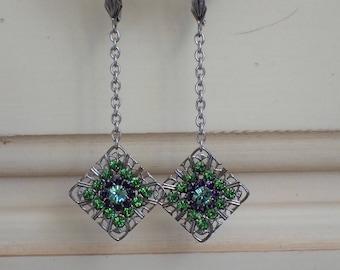 Fern Green Swarovski Crystal Earrings, Silver