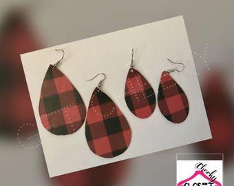 Buffalo plaid red black teardrop earrings