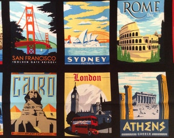 70 inches of postcard size travel destinations on black background cotton fabric