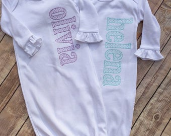 Baby Girl Personalized Infant Gown, Baby Gown for Girl, Going Home Outfit, New Baby Gift, Baby Shower, Baby's First Picture, Girl Outfit