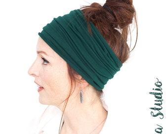 Dark Green Headband - Deep Green Headwrap Green Hairwrap Yoga Headband Wide Headband Boho Headband Bohemian Headband Turban Tichel Mitpachat