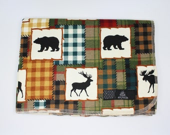 Woodland Plaid Deer Bear Moose XXL and Extra Large Receiving Blankets