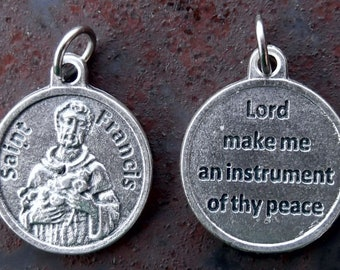 2 Round St Francis of Assisi Medals - with Prayer of St Francis - Lord Make Me an Instrument of Thy Peace     (JWL-R)