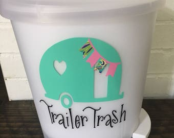 Trailer trash decal - trailer decal - trailer trash - trailer decor - camper decal - trailer - camper decor- rv decor - camper trash can