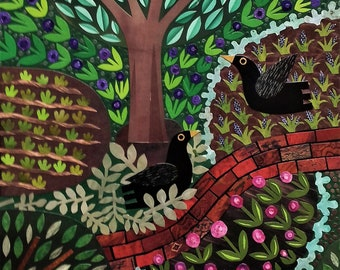 Original Collage, Blackbirds, Garden, Naive, Flowers, Birds, Wall Art, Original Art, Gift for Gardeners, For Birdlovers, Amanda White Design