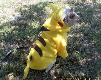 French Bulldog Boston Terrier Pug Dog Froodies Hoodies Halloween Costume Cosplay Pokemon Go Pikachu Fleece Jacket Sweatshirt Coat