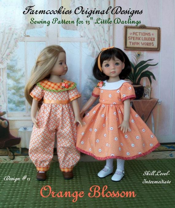 """PDF Sewing Pattern / ORANGE BLOSSOM for  Dianna Effner's 13"""" Little Darling Dolls"""