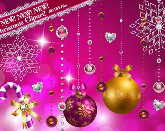 Pink Christmas Clipart, Diamond Clipart, Sparkly Clipart, Holiday Clipart, Glamourous Clipart