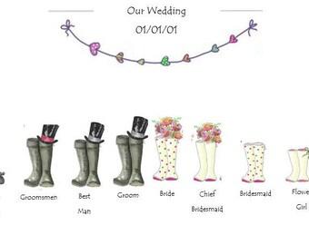 Wedding Wellie Wellington personalised  Bridal Party Print *DIGITAL*