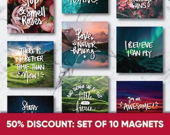 50% Discount SET of 10 Inspirational Magnets   Fridge Magnets   Whiteboard Magnets   Inspirational Quotes   Motivational Magnets Gift