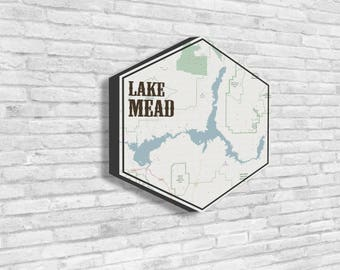 Lake Mead, Lake Mead Canvas, Lakes of America, Nautical Map, Hexagon Canvas, Travel Collection, Souvenir Idea, Visit Lake Mead, Visit Nevada