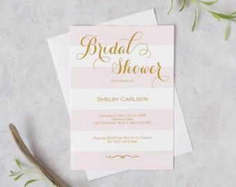 Blush Bridal Shower Invite - Blush pink stripes invitation printable -Wedding Printable- Blush and gold - Editable PDF - 5x7 inches -#GD2602
