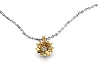 Two Tone Daisy Pendant 14K Yellow Gold with White Diamond