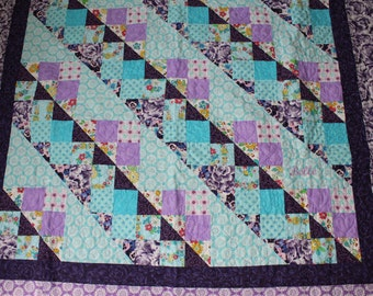 Twin size, girl quilt, blue, purple, handmade, quilt, personalized, patchwork, baby quilt, queen size, king size, lavender, aqua blue