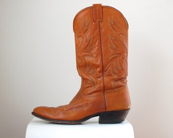 Burnt Orange Cowboy Boots/ Nocona Western Boots/ UT Longhorn Boots/ Men's Size 10 1/2 D