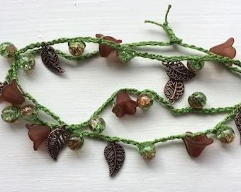 Woodland fairy crochet flower necklace.