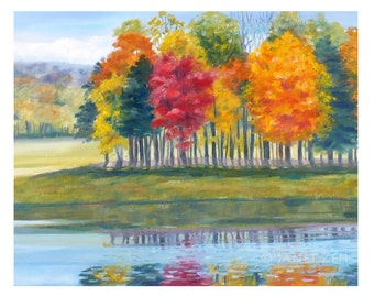 Autumn Trees Print Fall Landscape Fine Art 8x10 by Janet Zeh Original Art
